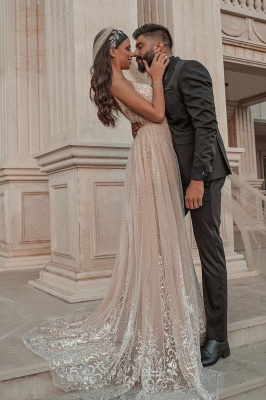 Elegant Strapless Tulle Nude Pink Sequins Wedding Dresses With Detachable Skirt_2