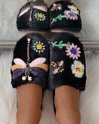 Floral Pattern Rhinestone Fluffy Slippers On Sale_10
