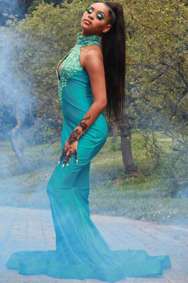 Sexy Halter Turquoise Mermaid Prom Dresses With Sequins_2