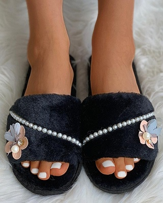 Floral Pattern Beaded Fluffy Slippers On Sale_2