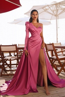 Gorgeous One Shoulder Long Sleeve Prom Dress With Split_2