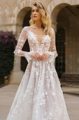 Gauzy Long Sleeves Tulle V Neck Wedding Dresses With Lace Appliques_4