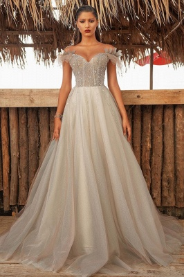 Luxury Off The Shoulder Tulle Silver Prom Dresses Beading Sequins A-Line Evening Dresses_1