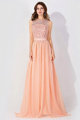 A-line Chiffon Tulle Lace Ruffles Bridesmaid Dress On Sale_1