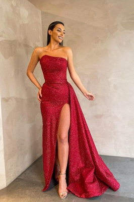 Sexy Strapless Red Sequins Prom Dress Long