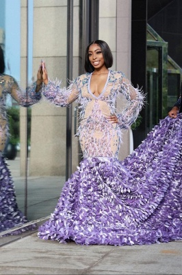 Lilac Fur Sequins Mermaid Prom Dresses|Long Sleeves Satin Evening Gowns_3
