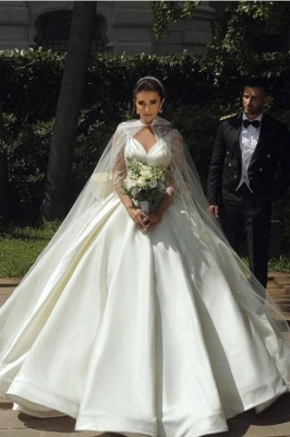 Ball Gown Satin Long Sleeves Lace Wedding Dress with Bow On Sale_1