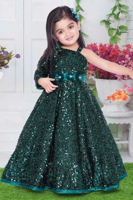 Sparkly Sequined One-Shoulder Princess Flower Girl Dress with Flowers On Sale