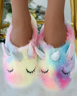 Unicorn Pattern Colorblock Fluffy Slippers On Sale_5