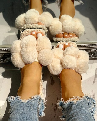 Villus Fluffy Casual Flat Sandals On Sale_11