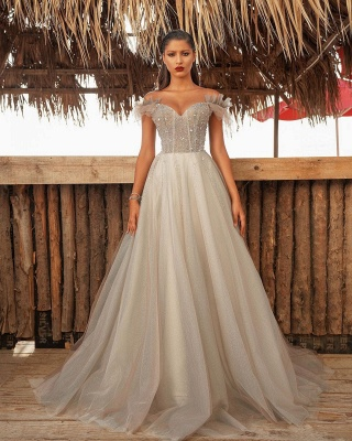 Luxury Off The Shoulder Tulle Silver Prom Dresses Beading Sequins A-Line Evening Dresses_2