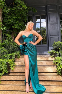Women Sweetheart Dark Green Ruffles Prom Dress Long