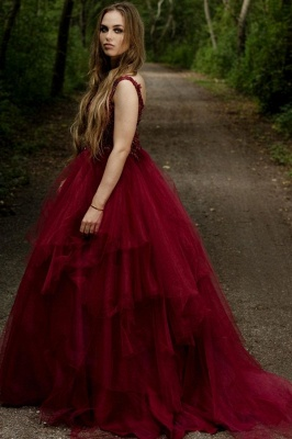 Elegant V-neck Burgundy Tulle Lace Prom Dress On Sale_3