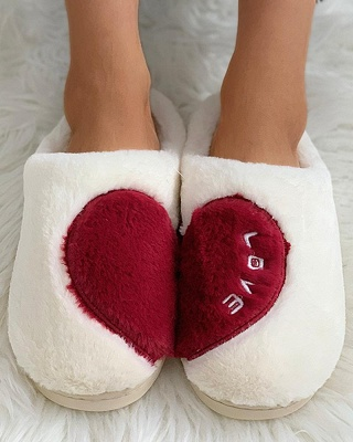 Heart Letter Pattern Fluffy Slippers On Sale_14