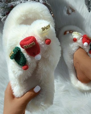 Christmas Pattern Cross Fluffy Slippers On Sale_16