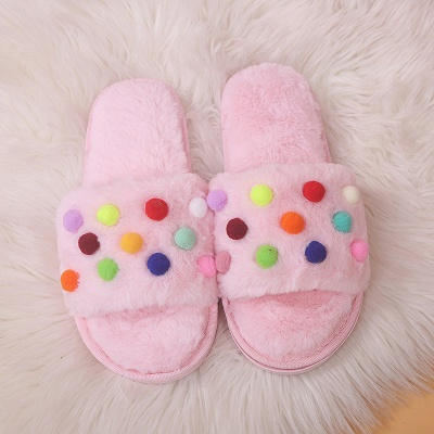 Pom Pom Colorblock Fluffy Slippersa On Sale