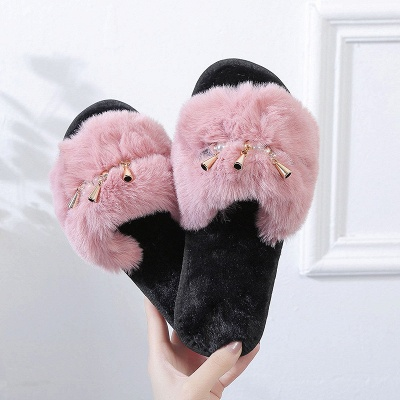 Beaded Metal Tassel Fluffy Slippers On Sale