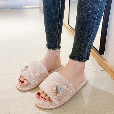 Floral Pattern Beaded Fluffy Slippers On Sale
