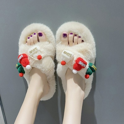 Christmas Pattern Cross Fluffy Slippers On Sale_10