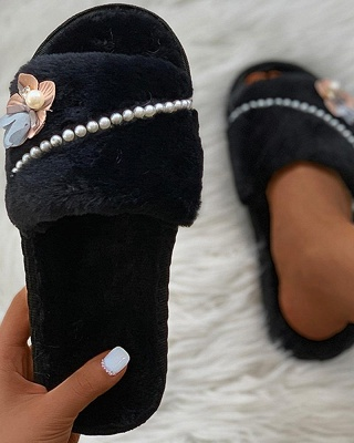 Floral Pattern Beaded Fluffy Slippers On Sale_7