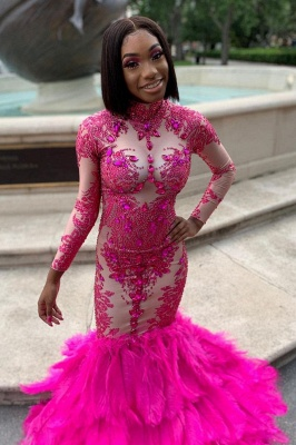 Stunning Fuchsia Mermaid Evening Gowns|Long Sleeves High Neck Prom Dresses_2
