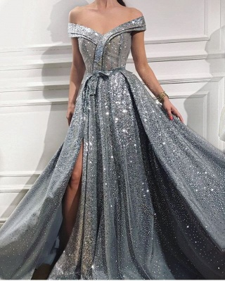 Glittery Off The Shoulder Sequins Front-Split Ruffles Prom Dresses_1