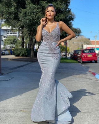Sparkly Sequined Mermaidl Straps Prom Dress Online_2