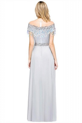 A-line Jewel Short Sleeves Sequins Evening Dress with Tassels in Stock_3