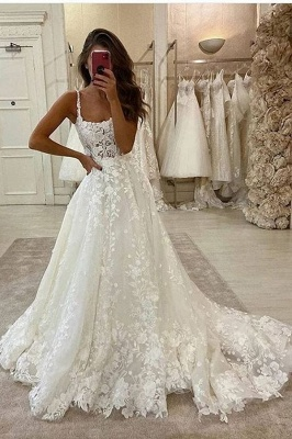 Elegant A-Line Straps Tulle Wedding Dress Lace Sleeveless Bridal Gowns with Train_1