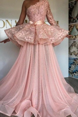 One Shoulder Pink Tulle Lace Prom Dress On Sale