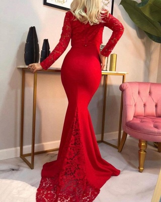 Elegant Mermaid Long Sleeves Red Prom Dress with Lace Online_2