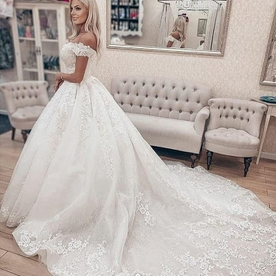 Eye-Catching Off The Shoulder Tulle Lace Ruffles Wedding Dresses Long_2