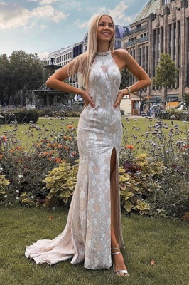 Sexy Backless Lace Slit Prom Dress Online