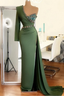 Sexy Asymmetrical Chiffon Beadings Sexy Slit Prom Dress On Sale