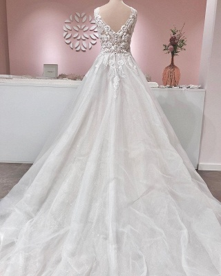 Gorgeous Tulle Ruffles V Neck Wedding Dresses With Lace Appliques_2