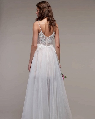 Simple Spaghetti Straps Tulle Lace Wedding Dress On Sale_2