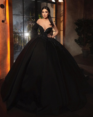 Alluring Ball Gown One-Sleeve Black Taffeta Lace Prom Dress Online_3