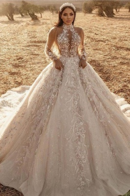 Luxury Ball Gown High-Neck Tulle Lace Long Sleeves Wedding Dress Online
