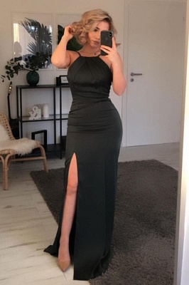 Chic Mermaid Black Prom Dress with Slit Online