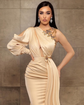 Sexy Mermaid One-Shoulder Charmeuse Prom Dress with Beadings Online_2