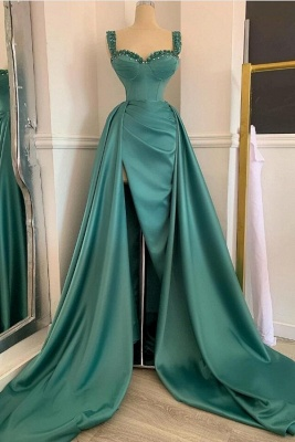Affordable Green Satin Slit Long Prom Dress On Sale