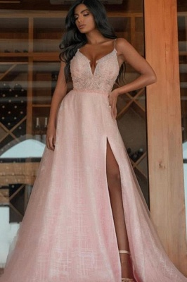 Sexy Spaghetti Straps V-Neck Prom Dress with Slit Online_1