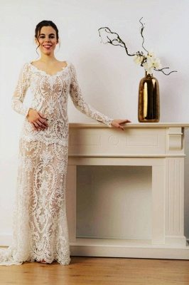 Sheath Lace Long Sleeves Wedding Dress Online