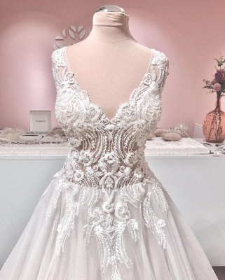 Gorgeous Tulle Ruffles V Neck Wedding Dresses With Lace Appliques_3