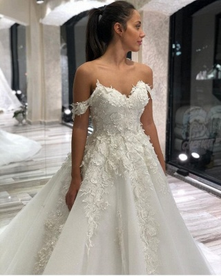 Off The Shoulder Tulle Sweetheart Ruffles Wedding Dresses With Applliques_2