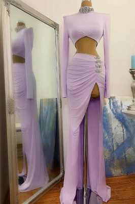 Sexy High Slit Long Sleeves High Neck Prom Dress On Sale