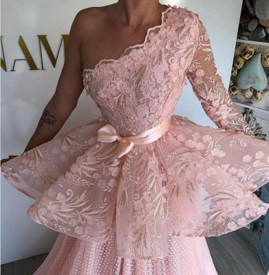 One Shoulder Pink Tulle Lace Prom Dress On Sale_2