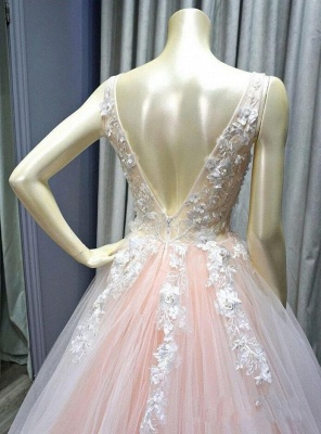 Sexy Deep-V-Neck Tulle Lace Prom Dress On Sale_4