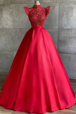 Chic High-Neck Lace Satin Prom Dress with Pearls Online_1