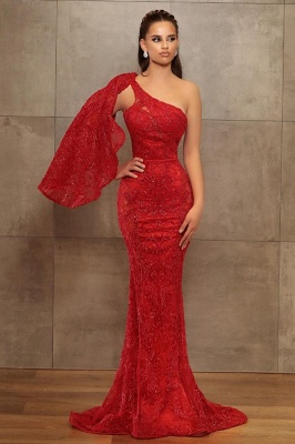 Sexy One-Shoulder Mermaid Lace Prom Dress Online
